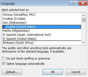 How to check spelling in a multi-language Word document
